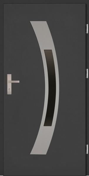 Drzwi wejściowe antracyt ramka INOX Antonio Plus SETTO
