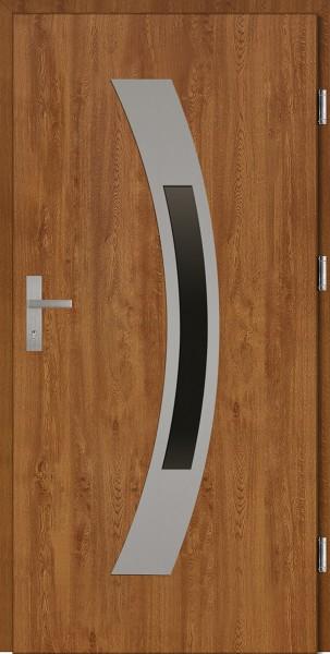 Drzwi wejściowe złoty dąb ramka INOX Antonio Plus SETTO
