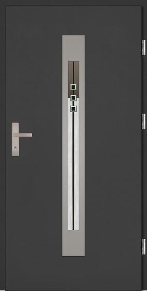 Drzwi wejściowe antracyt szyba DIP Fabio Plus SETTO