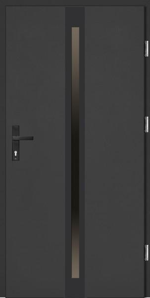 Drzwi wejściowe antracyt ramka i klamka NERO Marcello Plus