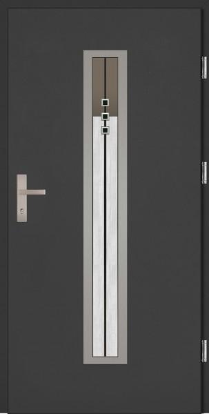 Drzwi wejściowe antracyt szyba DIP model Diego Plus SETTO