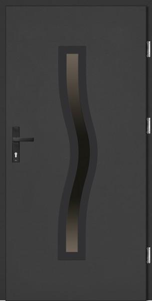 Drzwi wejściowe antracyt ramka i klamka NERO Rino Plus