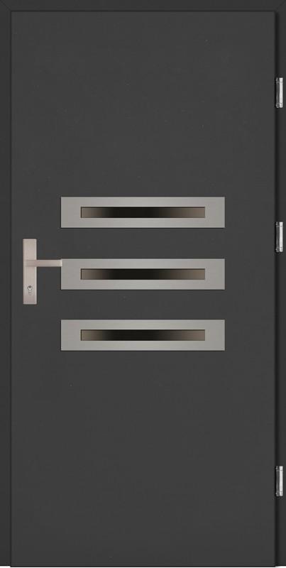 Drzwi wejściowe antracyt trzy szyby Angelo Plus SETTO
