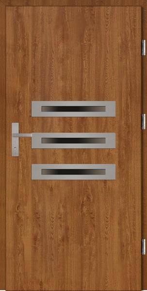Drzwi wejściowe złoty dąb trzy szyby Angelo Plus SETTO
