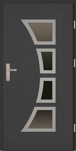 Drzwi wejściowe antracyt cztery szyby Mario Plus SETTO