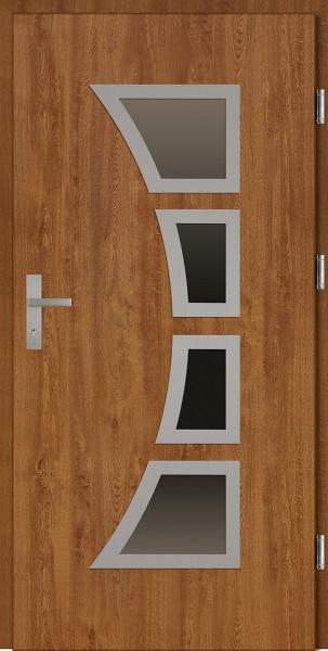 Drzwi wejściowe złoty dąb cztery szyby Mario Plus SETTO