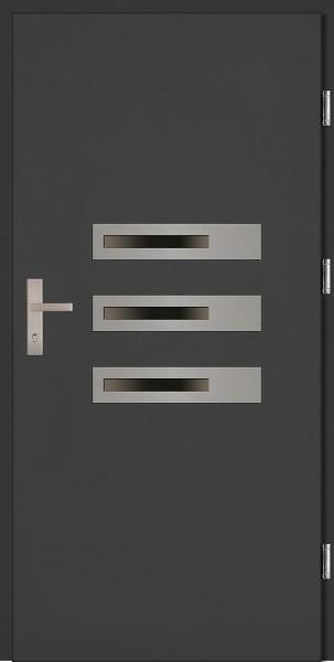 Drzwi wejściowe antracyt 3 szyby Armando Plus SETTO