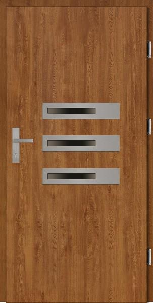 Drzwi wejściowe złoty dąb 3 szyby Armando Plus SETTO