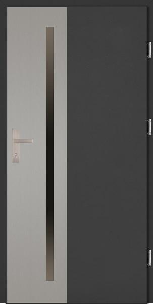 Drzwi wejściowe antracyt ramka INOX Augusto Uno Plus SETTO