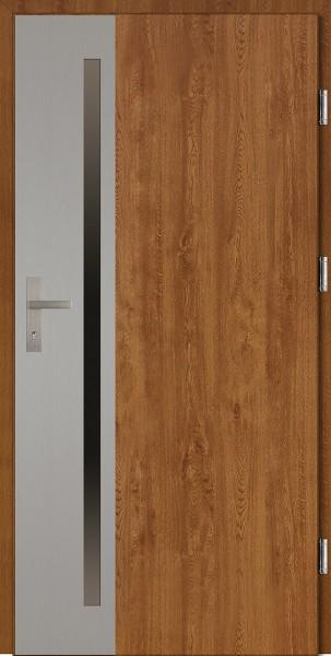 Drzwi wejściowe złoty dąb z metalową ramką Apollo Uno Plus SETTO