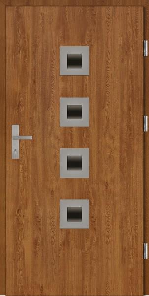 Drzwi wejściowe złoty dąb z czterema szybkami Carlo Plus