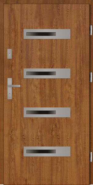 Drzwi zewnętrzne złoty dąb 4 szyby Armando 4 Classico SETTO