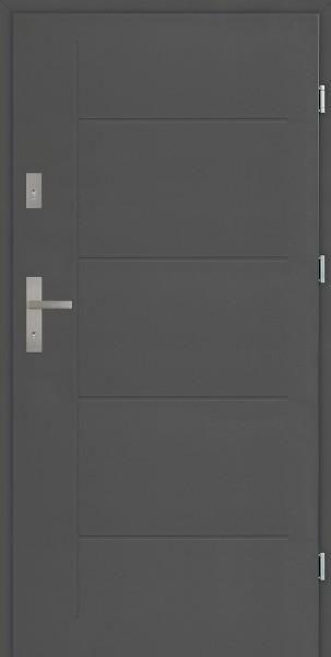 Drzwi zewnętrzne antracyt Pełne z tłoczeniem Modern SETTO