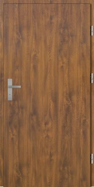 Drzwi zewnętrzne złoty dąb bez szyby Pełne 92 SETTO stalowe