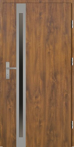 Drzwi zewnętrzne złoty dąb ramka srebrna Marcello Uno 92 SETTO stalowe
