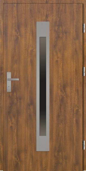 Drzwi zewnętrzne zloty dąb ramka srebrna Fabio 92 SETTO stalowe