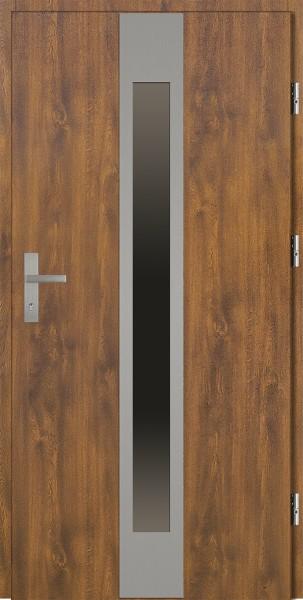 Drzwi zewnętrzne złoty dąb z szybą Sergio 92 SETTO