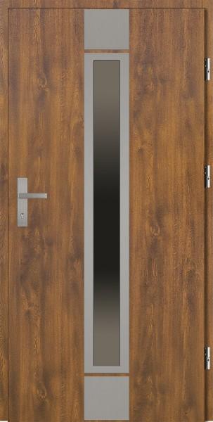 Drzwi zewnętrzne złoty dąb ramka srebrna Alfredo 92 SETTO