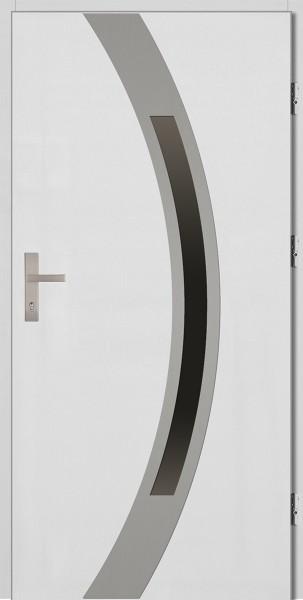 Drzwi zewnętrzne białe ramka srebrna Luciano 92 SETTO