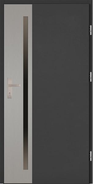 Drzwi zewnętrzne antracyt ramka INOX Apollo Uno 92 SETTO