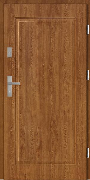 Drzwi stalowe wejściowe złoty dąb pełne W16 Pełne 68 SETTO